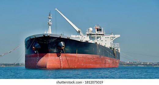 Crude oil tanker ship moored in Botany Bay, NSW, Australia.