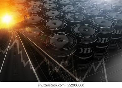 Crude Oil Transportation Concept Illustration with 3D Rendered Crude Oil Barrels. Car Speeding on the Highway, Oil Barrels and Statistics Elements.