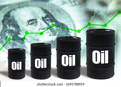 Crude petroleum. Barrels with the words oil. Symbols of increasing the cost of hydrocarbons. Concept - stocks of oil companies are growing. Franklin portrait as a symbol of value. Crude oil futures.