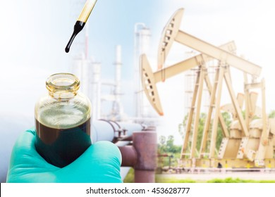 crude sampling for laboratory test basic sediment and water of crude oil. oil and gas background