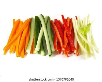 Crudites - Vegetable Sticks on white Background