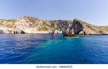 Cruise around Zakynthos, views from the sea on the island, Greece, background.