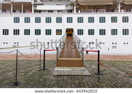 Cruise boarding entrance platform in sea port. Horizontal view