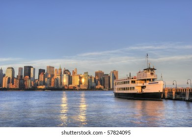 Cruise boat with Downtown Manhattan skyline