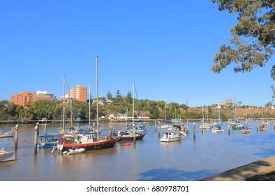 Cruise boat moored in Brisbane river in Brisbane Australia.