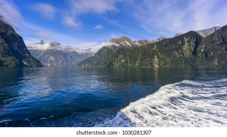 Cruise boat trip through the Fiords in Milford Sound, South Island, New Zealand