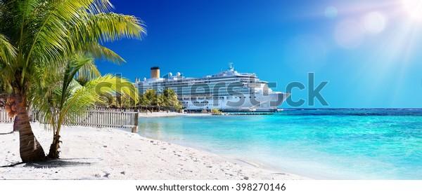 Kreuzfahrt in die Karibik mit Palmen am Coral Beach
