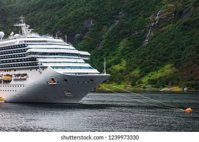 cruise liner anchored in fjord. Norway