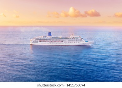 Cruise liner blue sea sunset. Concept travel. Aerial view.