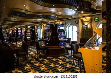 Cruise liner Costa Mediterranea - Feb 17, 2019: Casino interior on Cruise liner Costa Mediterranea.