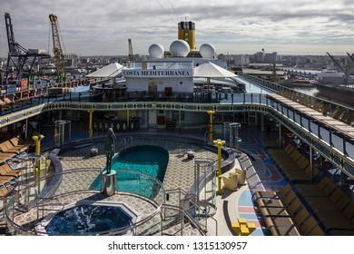 Cruise liner Costa Mediterranea - Feb 17, 2019: Open deck of cruise liner Costa Mediterranea.