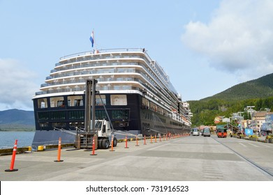 The cruise liner is moored at the port  Ketchikan. Alaska.