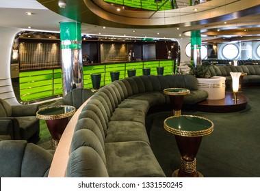 Cruise liner MSC Splendida - March 7, 2019: Bar interior of Cruise liner MSC Splendida