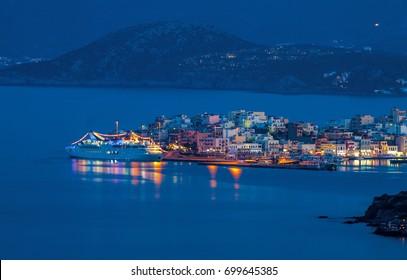 Cruise liner off the coast of Agios Nikolaos, Crete, Greece