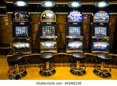 Cruise liner Splendida - August 8, 2017: Gaming slot machines in gambling casino, Cruise liner Splendida, MSC
