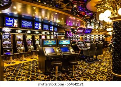 CRUISE LINER SPLENDIDA - JAN 7, 2017: Gaming slot machines in gambling casino, Cruise liner Splendida, MSC