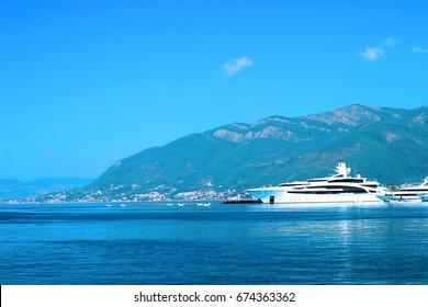 Cruise Liner. View from the Adriatic Sea in Boka Kotorska Bay. Montenegro.