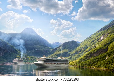 Cruise liners anchored at Geiranger fjord, Norway