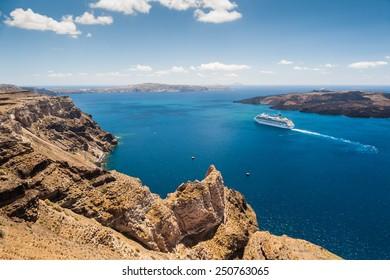 Cruise liners near the Greek Islands. Beautiful landscape with sea view. Santorini island, Greece