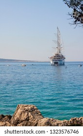 Cruise sailing ship Club Med 2 anchored in Rab/Croatia – July 30, 2018; Cruise sailing ship Club Med 2 anchored closed to Rab Island in Adriatic sea.