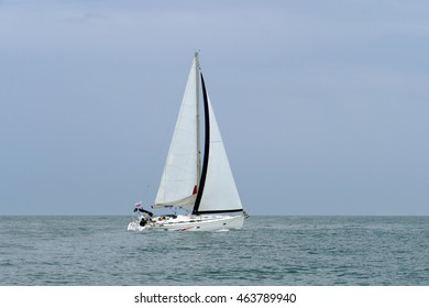 cruise sailing yacht in the sea