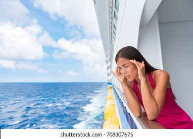 Cruise sea motion sickness tourist woman seasick on boat vacation with headache or nausea. Fear of travel or illness virus on cruising holiday.