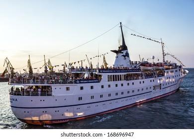 Cruise ship Adriana came into the port of Odessa, Ukraine.