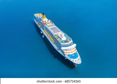 Cruise ship, aerial photography