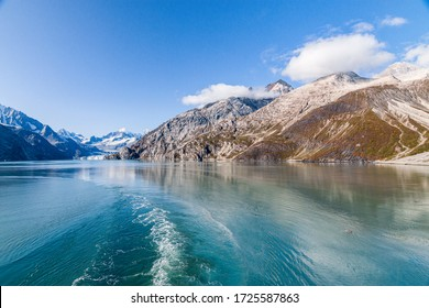 Cruise ship in Alaska, USA. Panoramic view in the summer. Landscape in Alaska.