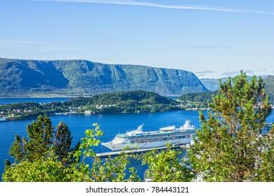 Cruise ship in Alesund sea port, Norway
