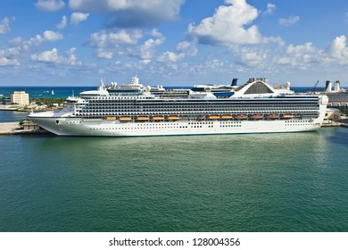 Cruise ship anchored in Port Everglades in Fort Lauderdale, Florida