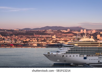 Cruise ship anchored at the port of Marseille, Provence, France