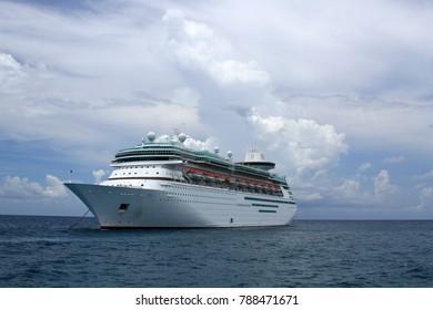 Cruise ship anchored at sea in the Bahamas.
