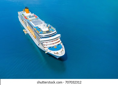 Cruise ship in the blue sea