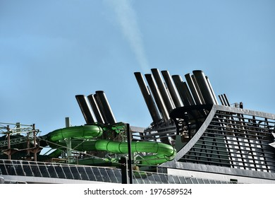 Cruise ship chimney where exhaust gases come out