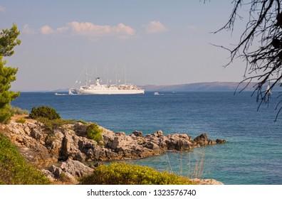 Cruise ship Club Med 2 close to Rab island /Croatia – July 30, 2018; Cruise sailing ship Club Med 2 anchored closed to Rab Island in Adriatic sea.