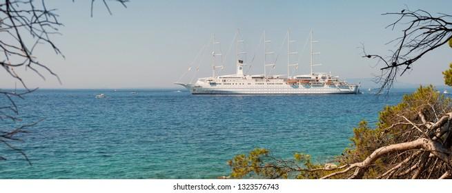 Cruise ship Club Med 2 anchored in Rab/Croatia – July 30, 2018; Cruise sailing ship Club Med 2 anchored closed to Rab Island in Adriatic sea.