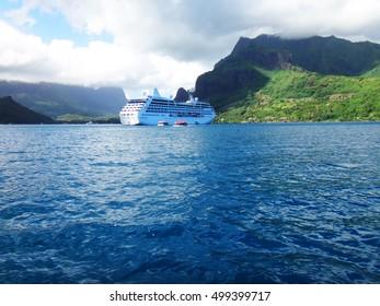 Cruise ship in Cook's Bay, Moorea, French Polynesia.