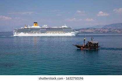 Cruise ship Costa Deliziosa leaving Corfu harbour, Greece 25th June 2019