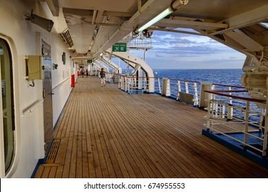 Cruise Ship Deck at Dusk
