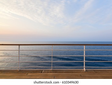 Cruise Ship Deck and railing with Ocean View.