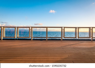 Cruise ship deck view. Luxury travel background.