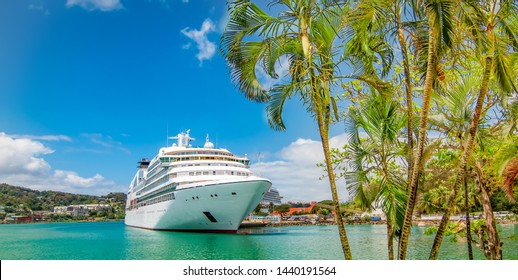 Cruise ship docked in Castries, Saint Lucia, Caribbean Islands.