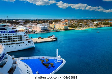 Cruise ship docked in Nassau Bahamas