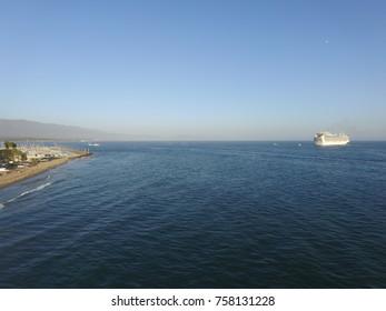 Cruise ship docked off the coast of Santa Barbara, California