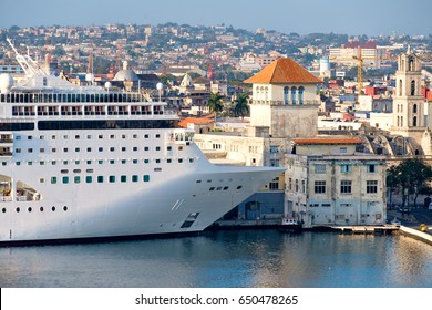Cruise ship docked at the Old Havana cruise terminal in Cuba