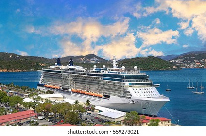 Cruise ship docked in Saint Thomas Island