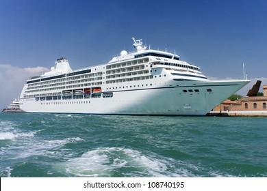 Cruise ship docked in Venice, Italy
