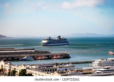 A Cruise Ship Docking in San Francisco, California, USA