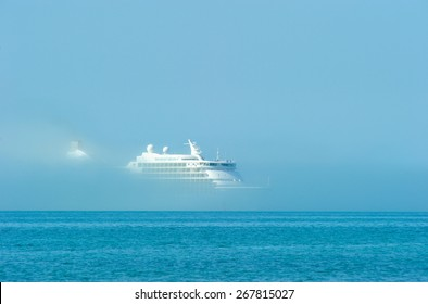 A cruise ship emerging from the fog in Key West, USA